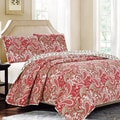 Modern Red Paisley 3-piece Reversible Quilt Set