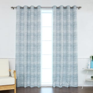 Aurora Home Modern Ink Plaid Printed Room-Darkening Curtain Panel Pair