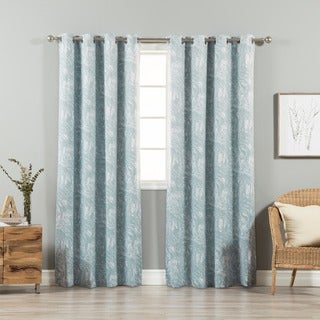 Aurora Home Marble Swirl Room-Darkening Grommet Top Curtain Panel Pair