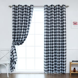 Aurora Home Oversized Houndstooth Room-Darkening Curtain Panel Pair
