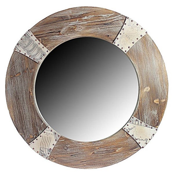Round Oak Wall Mirror