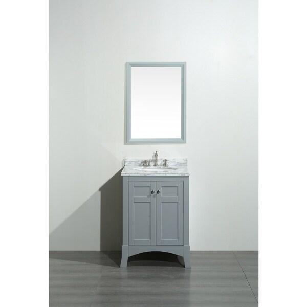 White 36 inch bathroom vanities - Eviva New York 30 Inch Grey Bathroom Vanity With White Marble Carrera