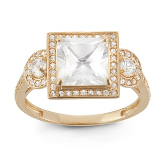 Gioelli 10k Yellow Gold Princess-cut Created White Sapphire Ring