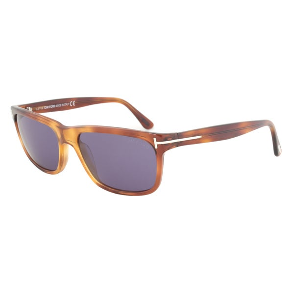Tom Ford TF337 52B Hugh Sunglasses with Havana Frame and Blue-Grey Lenses