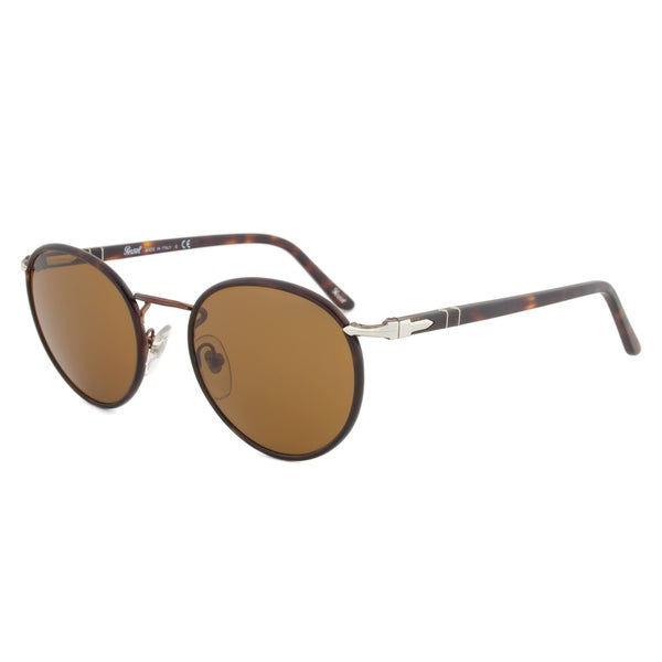 Persol PO2422SJ 105933 Round Sunglasses with Brown Frame and Brown Lenses