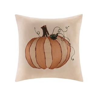 Madison Park Pumpkin Embroidered Faux Suede 20-inch Square Throw Pillow