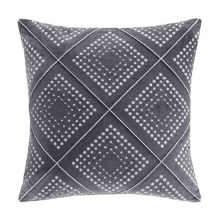Madison Park Cotton Velvet Geometric Embroidered Square 20-inch Throw Pillow - 2 Color Options
