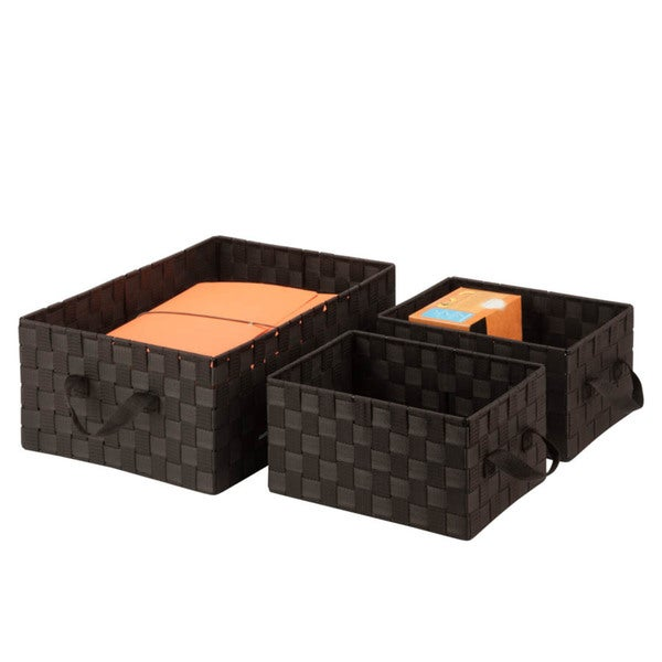 3pc Set Woven Baskets, espresso