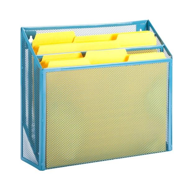 vertical file sorter, blue