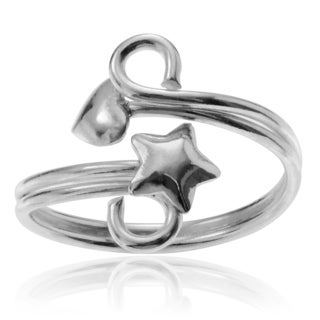 Journee Collection Sterling Silver Star And Heart Adjustable Toe Ring