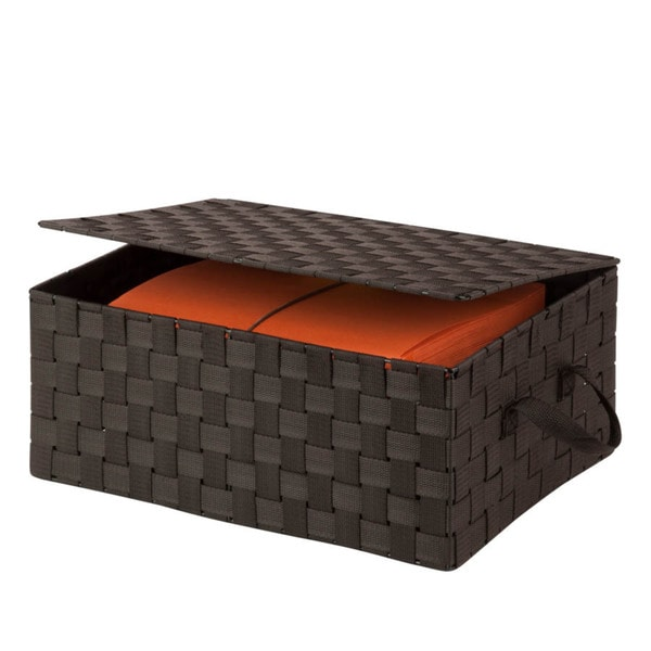 hinged lid woven storage box, espresso