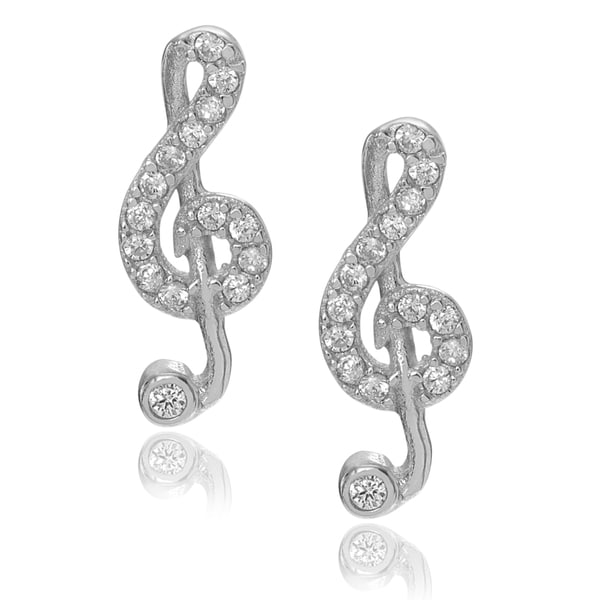 Journee Collection Sterling Silver Cubic Zirconia Treble Clef Stud Earrings