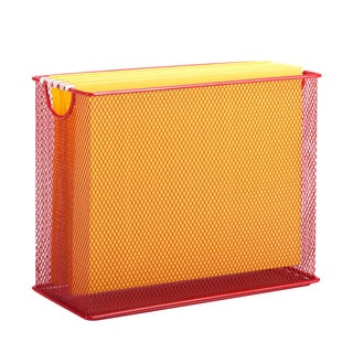 table top hanging file organizer, red