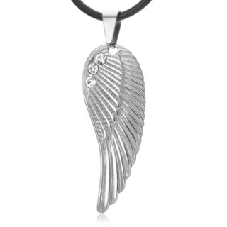 Vance Co Stainless Steel CZ Accent Angel Wing Pendant