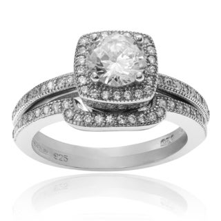 Journee Collection Sterling Silver Cubic Zirconia Halo Bridal Ring Set