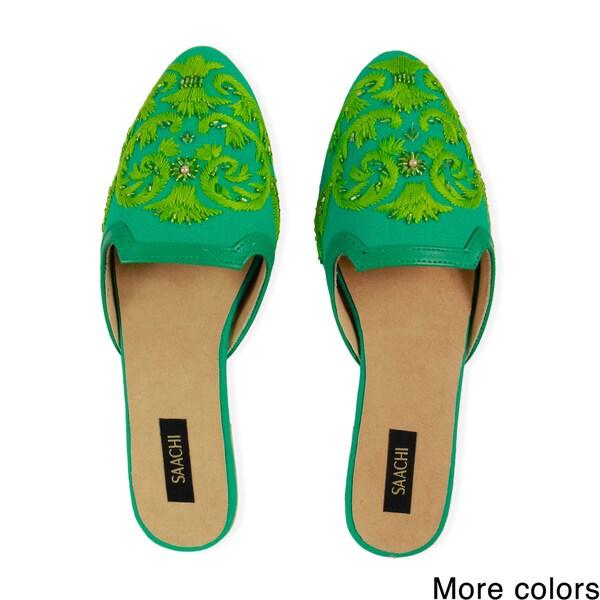 Saachi Women's Hand Embroidered Slides (India)