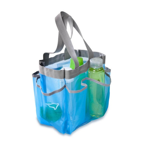 blue 7 pocket shower tote