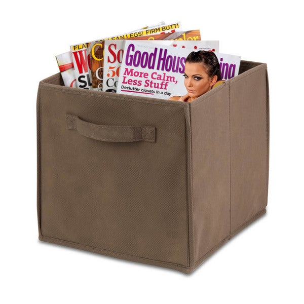 4-pack non-woven foldable cube- taupe
