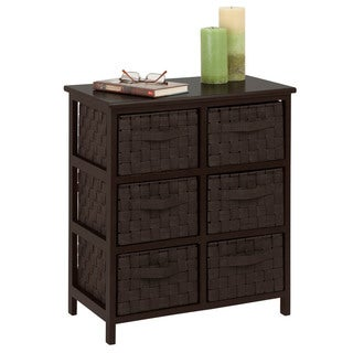 woven strap 6 drawer chest, espresso