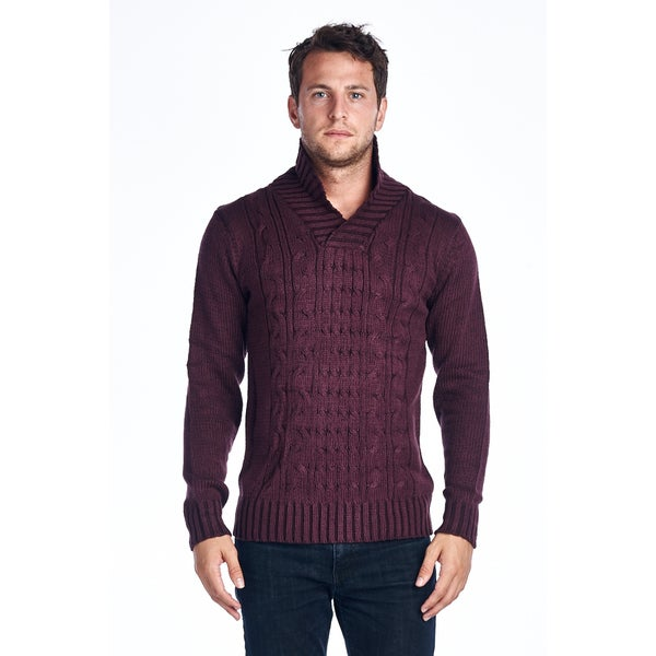 Men's Maroon Shawl-collar Knitted Sweater