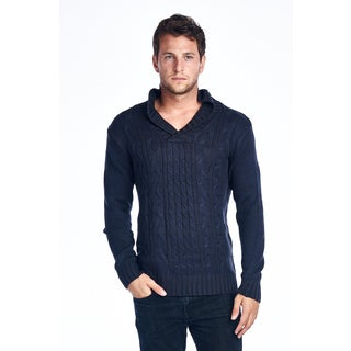 Men's Shawl Collar Blue Knitted Sweater