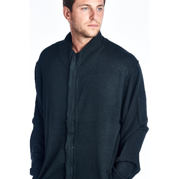Men's Charcoal Big and Tall Full Zip Sweater