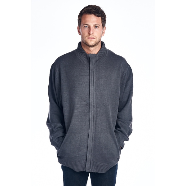 Men's Big and Tall Grey Full Zip Sweater