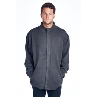 Men's Big and Tall Grey Full Zip Sweater