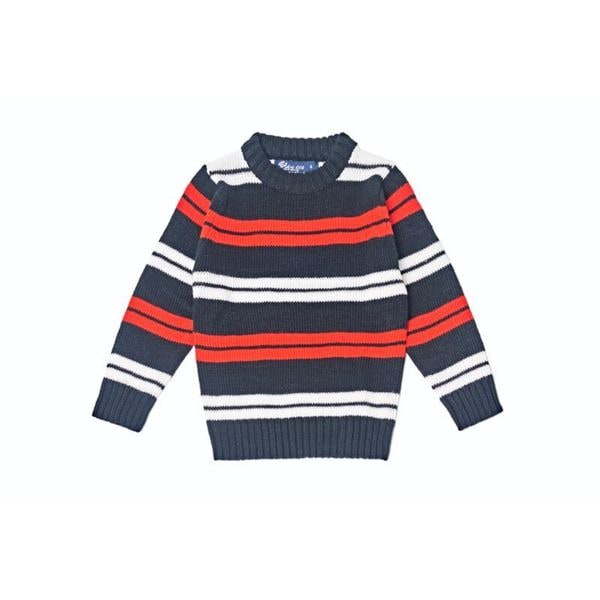 Girls' Double Striped Crew Sweater