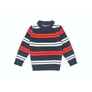 Girls' Double Striped Crew Sweater