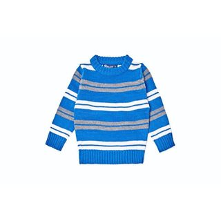 Girls' Blue Striped Knitted Sweater