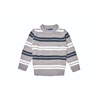 Girl's Grey/ Blue/ White Striped Knitted Sweater