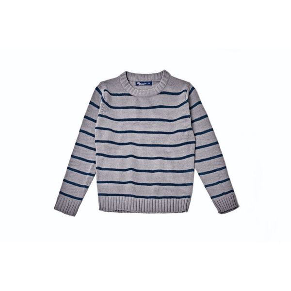 Kid's Grey Striped Pullover Sweater