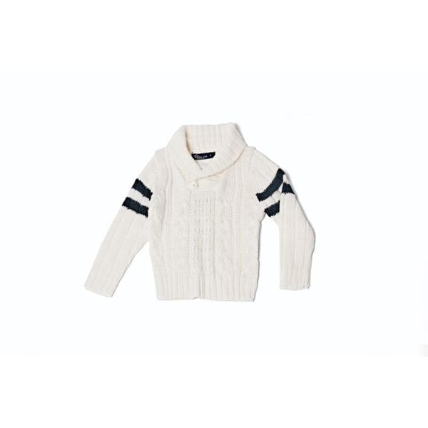 Girls' Off-white/ Navy Stripe Knitted Button Sweater