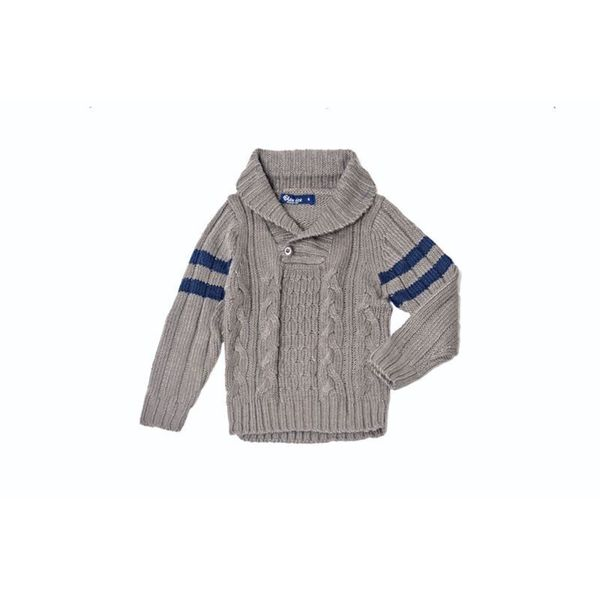 Girl's Knitted Button Grey and Blue Sweater