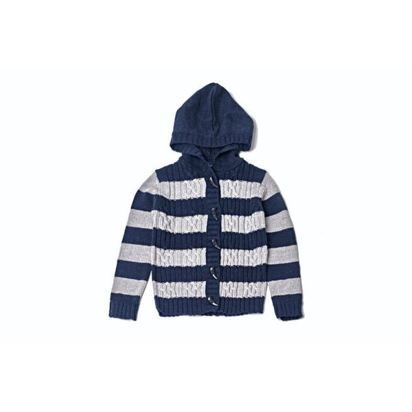 Girls' Navy/ Grey Striped Hoodie Sweater
