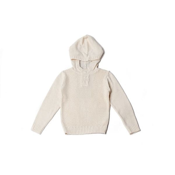 Girl's Textured Off-White Hoodie Sweater