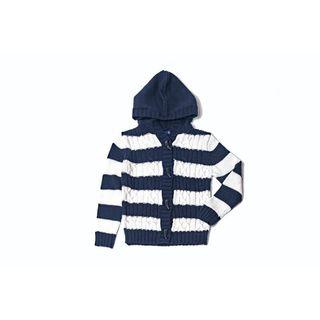 Girl's Striped Navy Hoodie Sweater