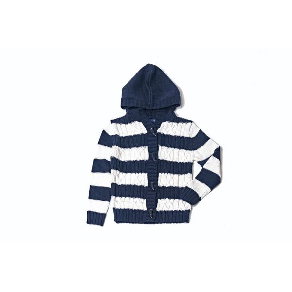 Girl's Striped Navy Hoodie Sweater