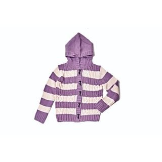 Girl's Striped Purple Cotton Hooded Sweater