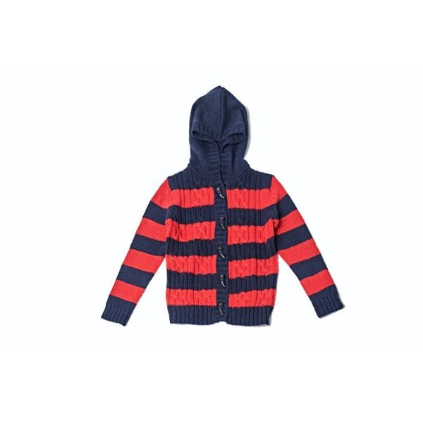Girl's Striped Red and Navy Hoodie Sweater