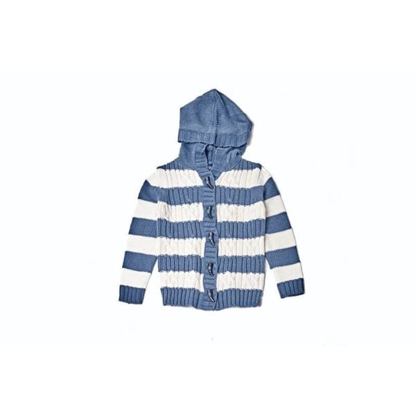 Girls' Blue/ White Striped Hooded Sweater