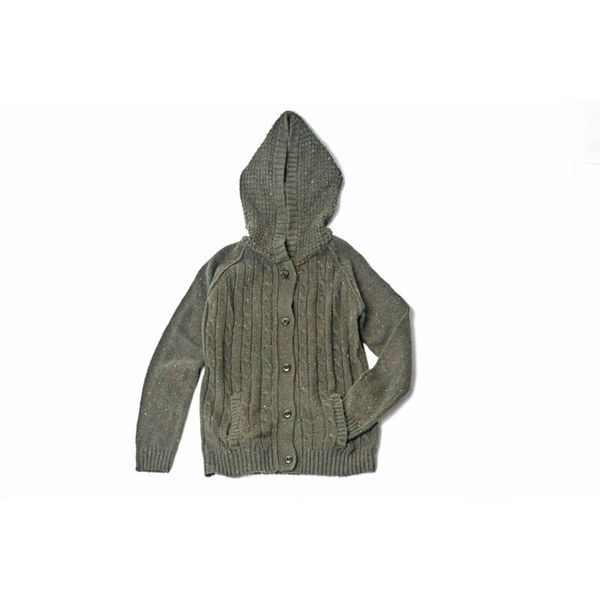 Kid's Textured Green Hoodie Sweater