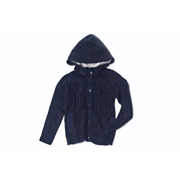 Girl's Textured Dark Blue Hoodie Sweater
