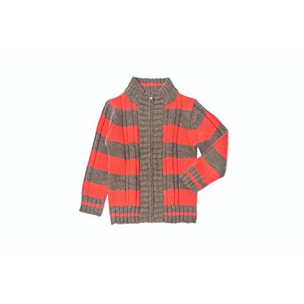 Girl's Brown and Red Striped Zip-front Sweater
