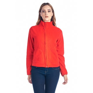 Women's Fleece Full Zip Jacket Red 20194-RED