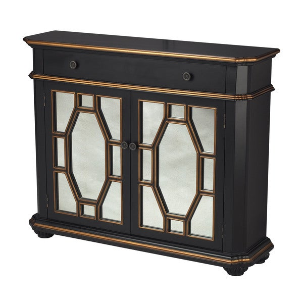 Presidio Black Mirrored Cabinet