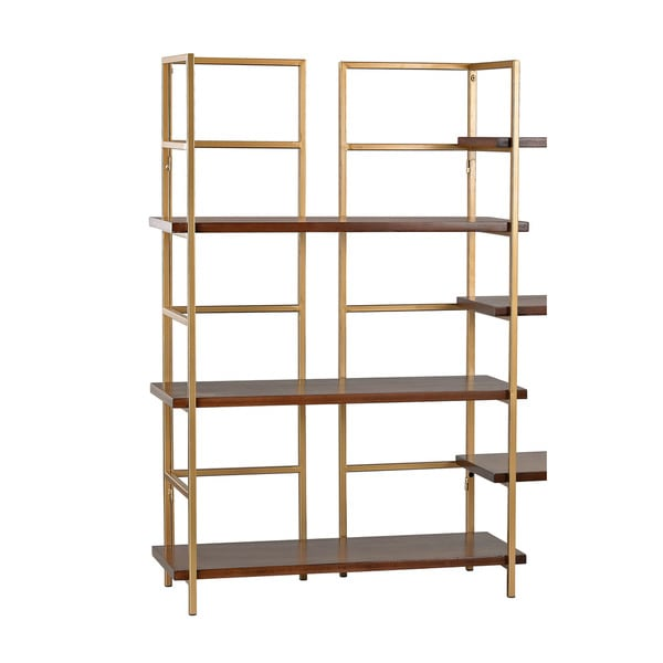 Sterling Balart Gold and Walnut Shelf Unit