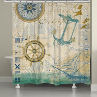 Laural Home Nautical Journey Shower Curtain (71-inch x 74-inch)