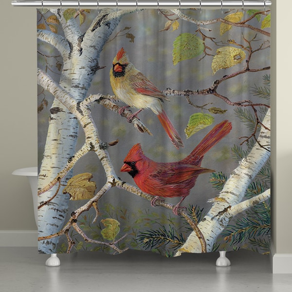 Laural Home Birch Tree Cardinals Shower Curtain (71-inch x 74-inch) 16473206